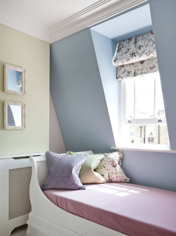 Bluish accent wall for the kids' bedroom at the loft
