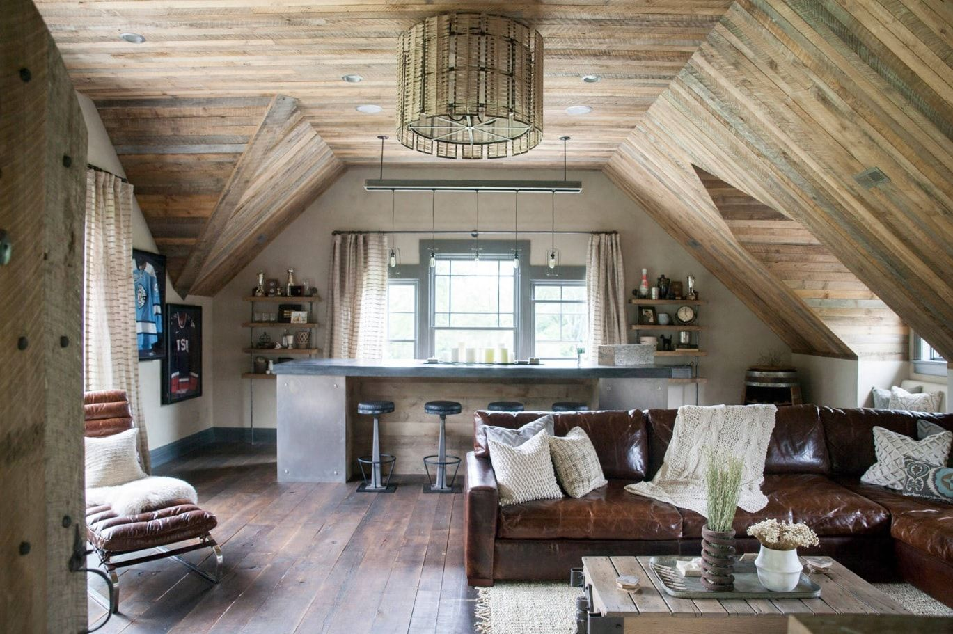 Wooden ceiling design for the living room with home bar