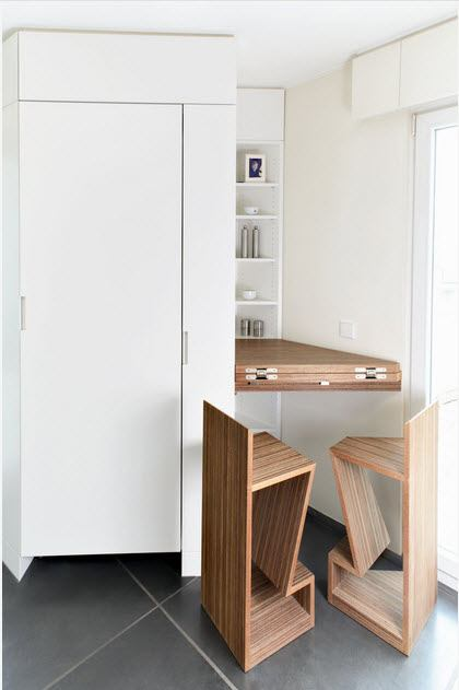 Utilizing space idea with folding table in the nook