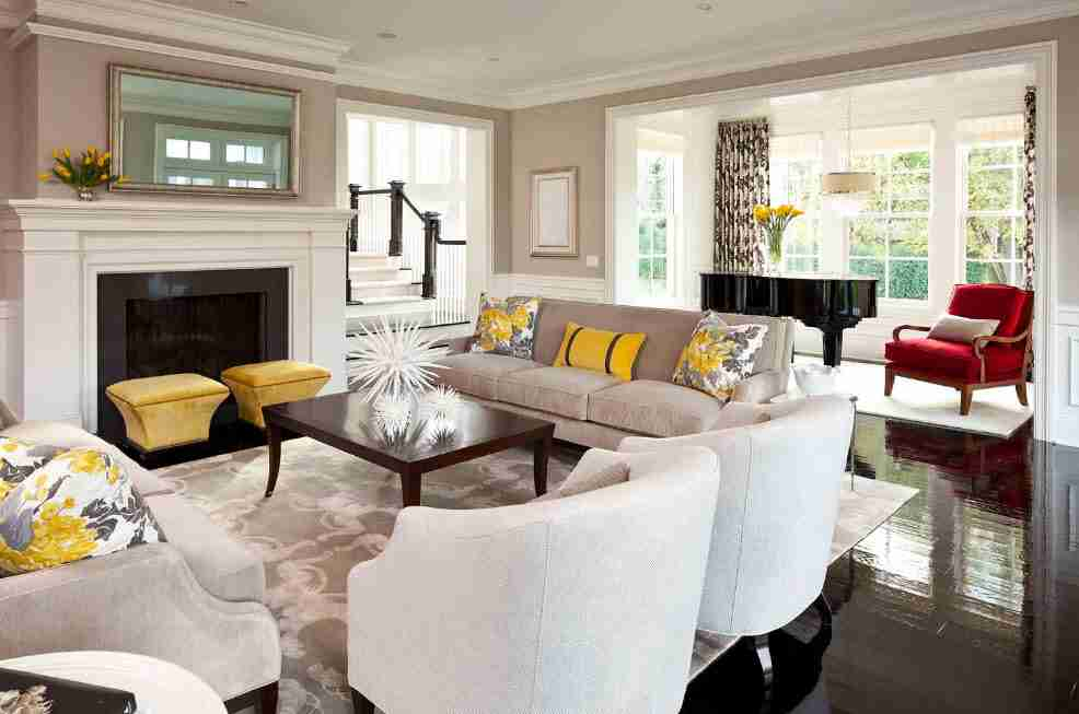 Ivory Interior Decoration Ideas, Photos, Advice. Gray color tints palette in the mid-century styled living