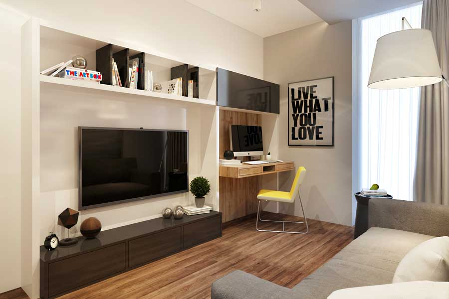 130 Square Feet Living Room most Effective Design Ideas. Functional wall for the beige colored space