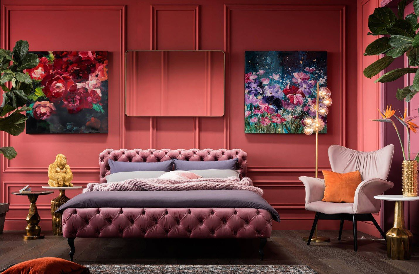 180 Square Feet Bedroom Interior Design Ideas. Futuristic unbeatable red bedroom with quilted royal bed