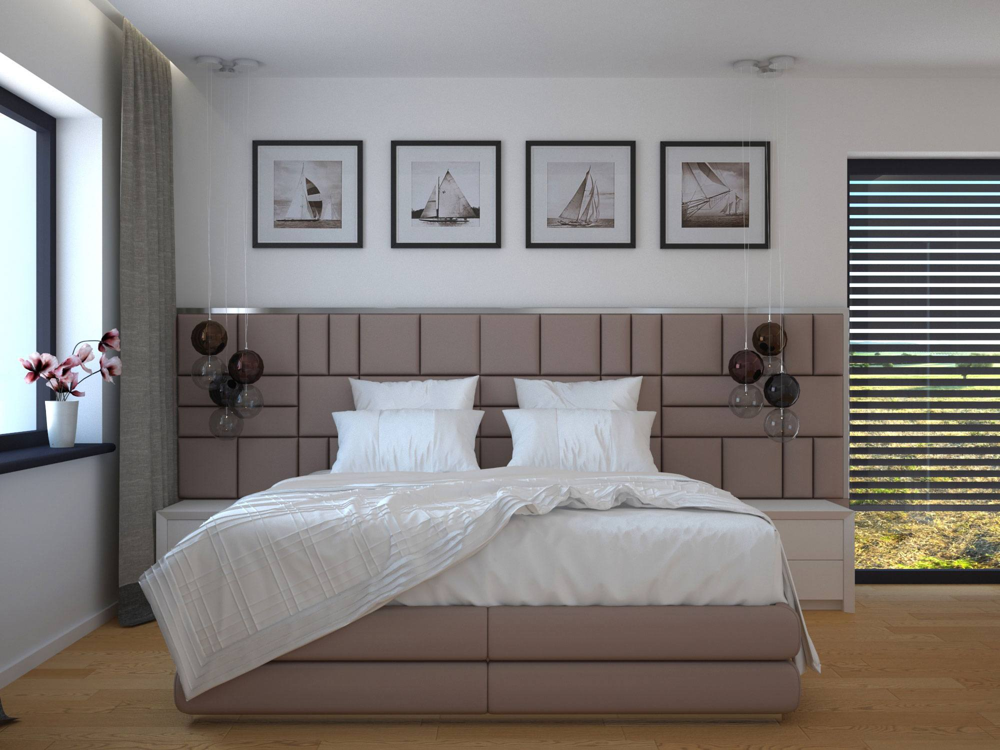 150 Square Feet Bedroom Interior Decoration and Photos. Soft headboard wall zone