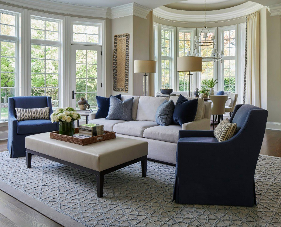 Large sash bay window for Classic styled room with blue furniture