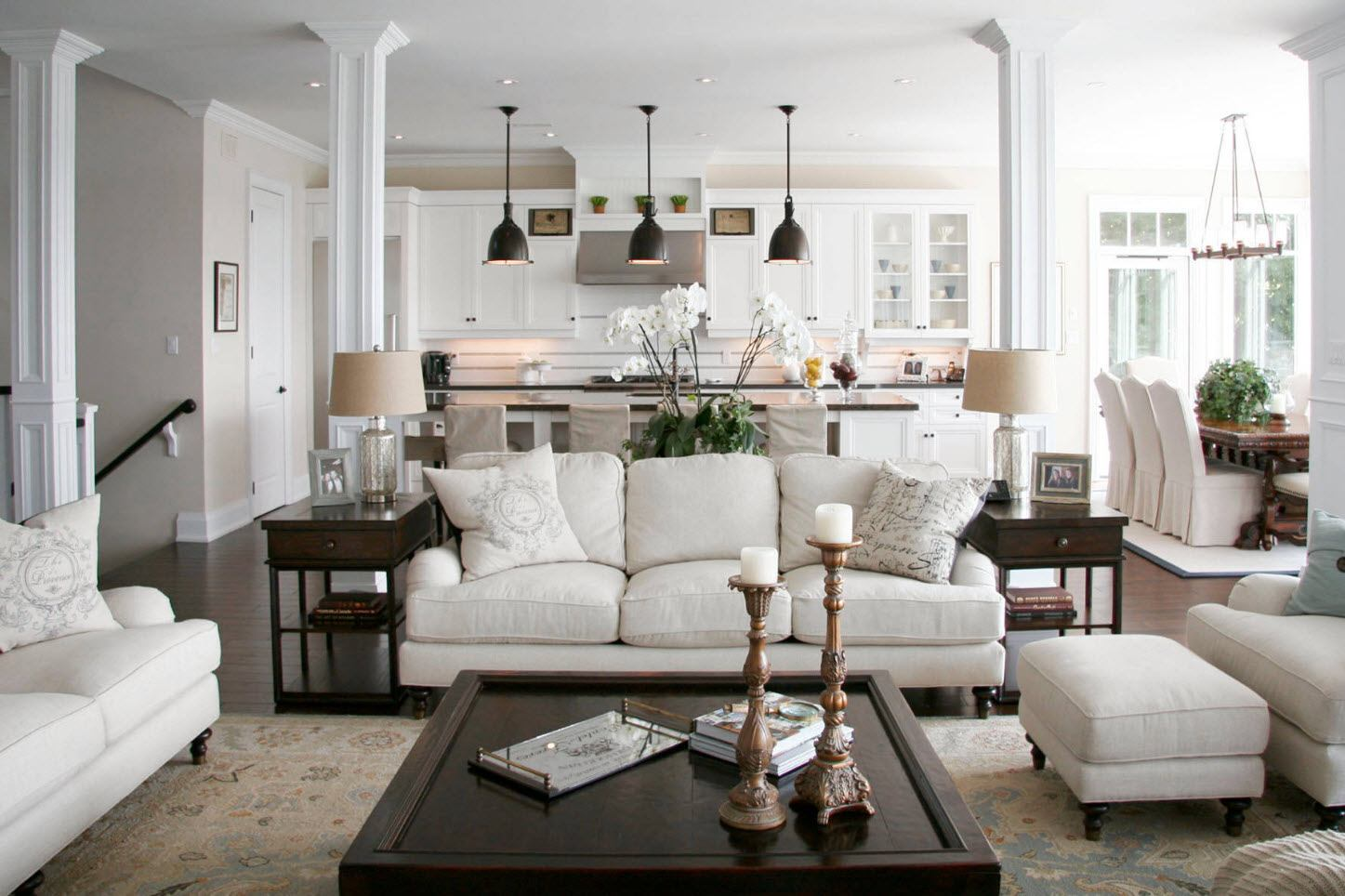 150 Square Feet Living Room Best Arrangement Ideas. Classic decoration and suspended lamps over the living zone