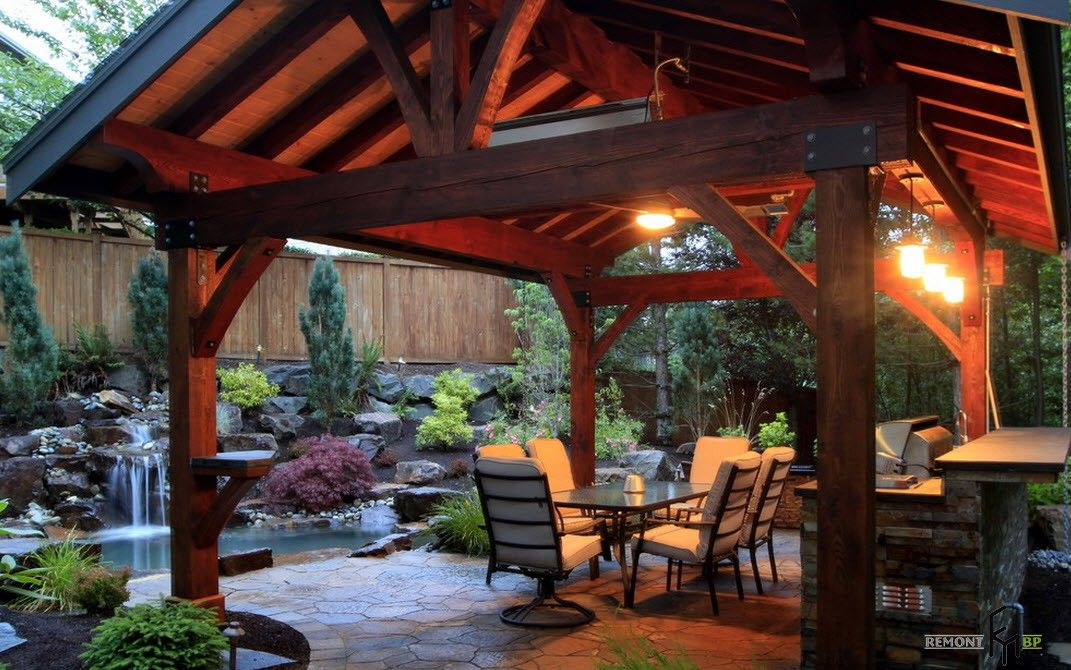 Backyard and Garden Gazebo: Design, Form, Use and Practical Advice. Wooden construction of the cottage's gazebo