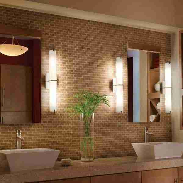Brickwork at the walls of bathroom for two