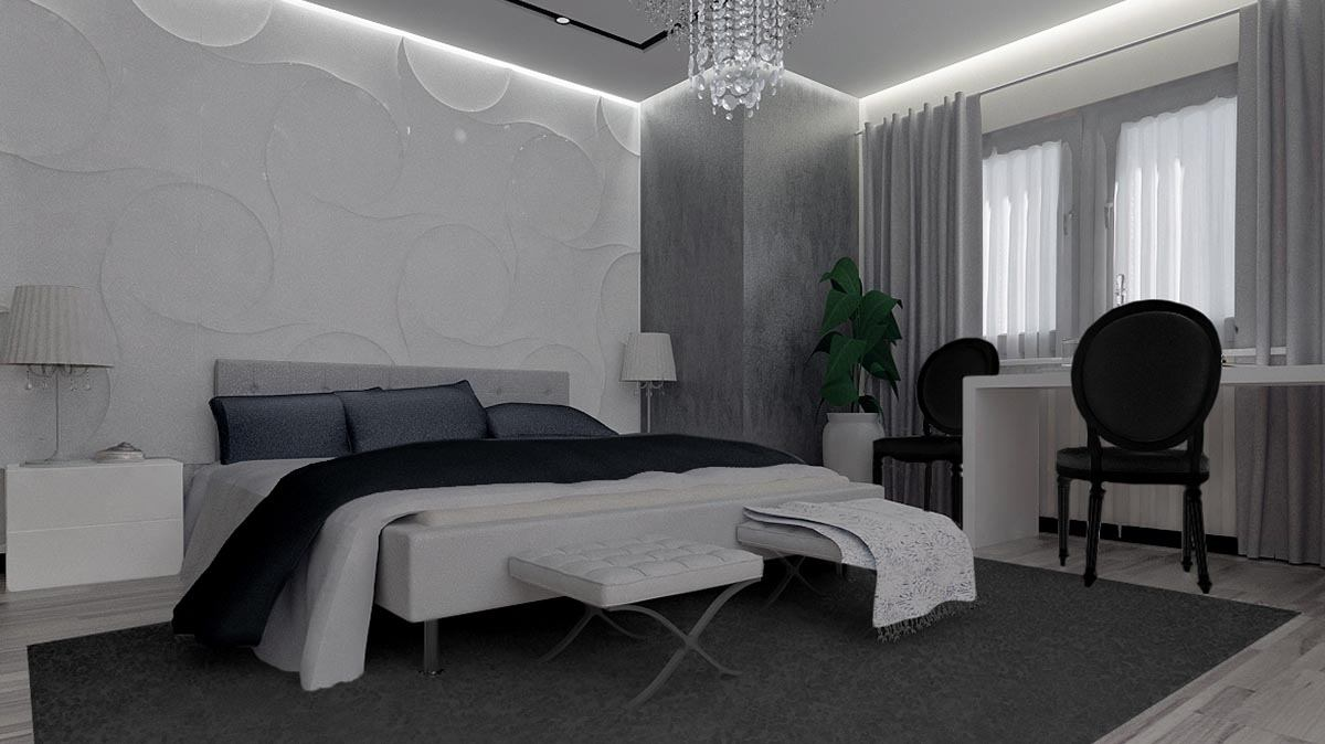 Gray colored modern bedroom with white bed