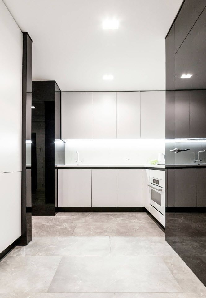 90 Square Feet Kitchen Interior Design Ideas & Examples. Modern itnerior with glossy contrasting surfaces