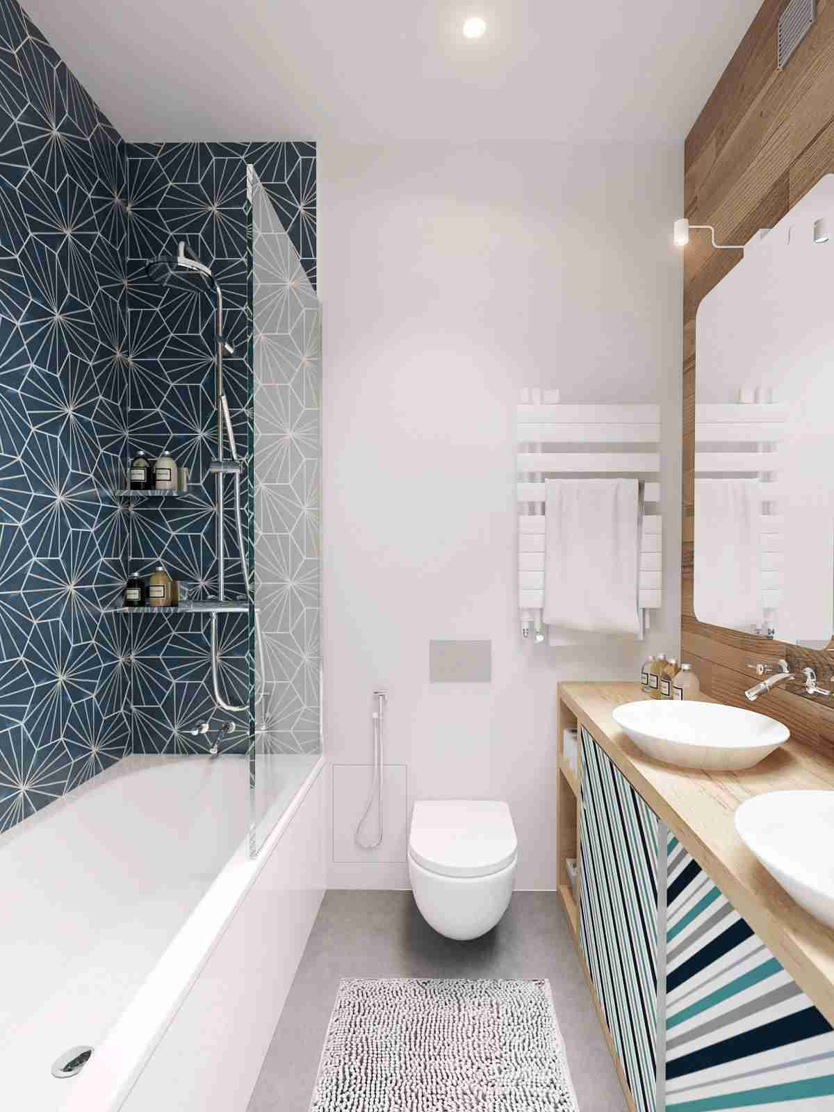 Bathroom Shelves: Fashionable Trends of Practical Interior Decoration. Dark blue accent wall in the ideally white space