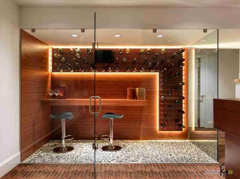Small bar behind the glass door