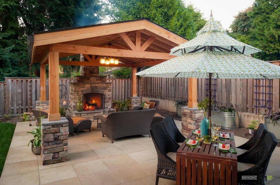 Backyard and Garden Gazebo: Design, Form, Use and Practical Advice. Complex of gazebo and unbrellas at the backyard patio zone