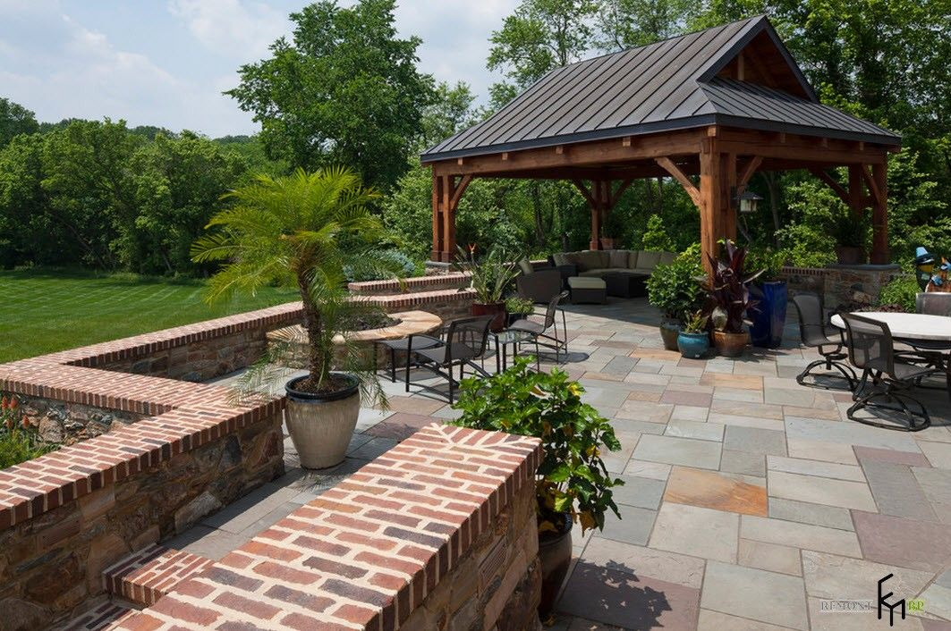 Patio zone at the backyard with capital gazebo