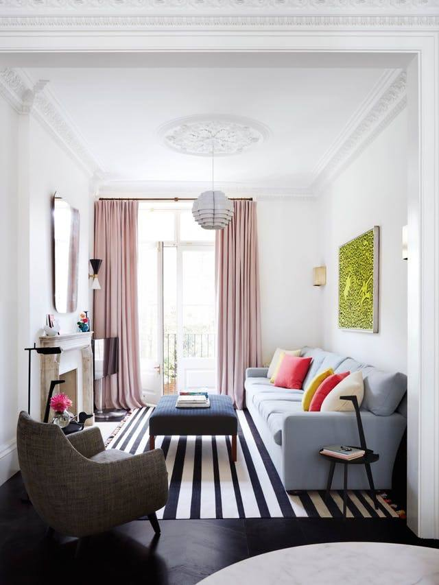 Striped rug in contemporary apartment
