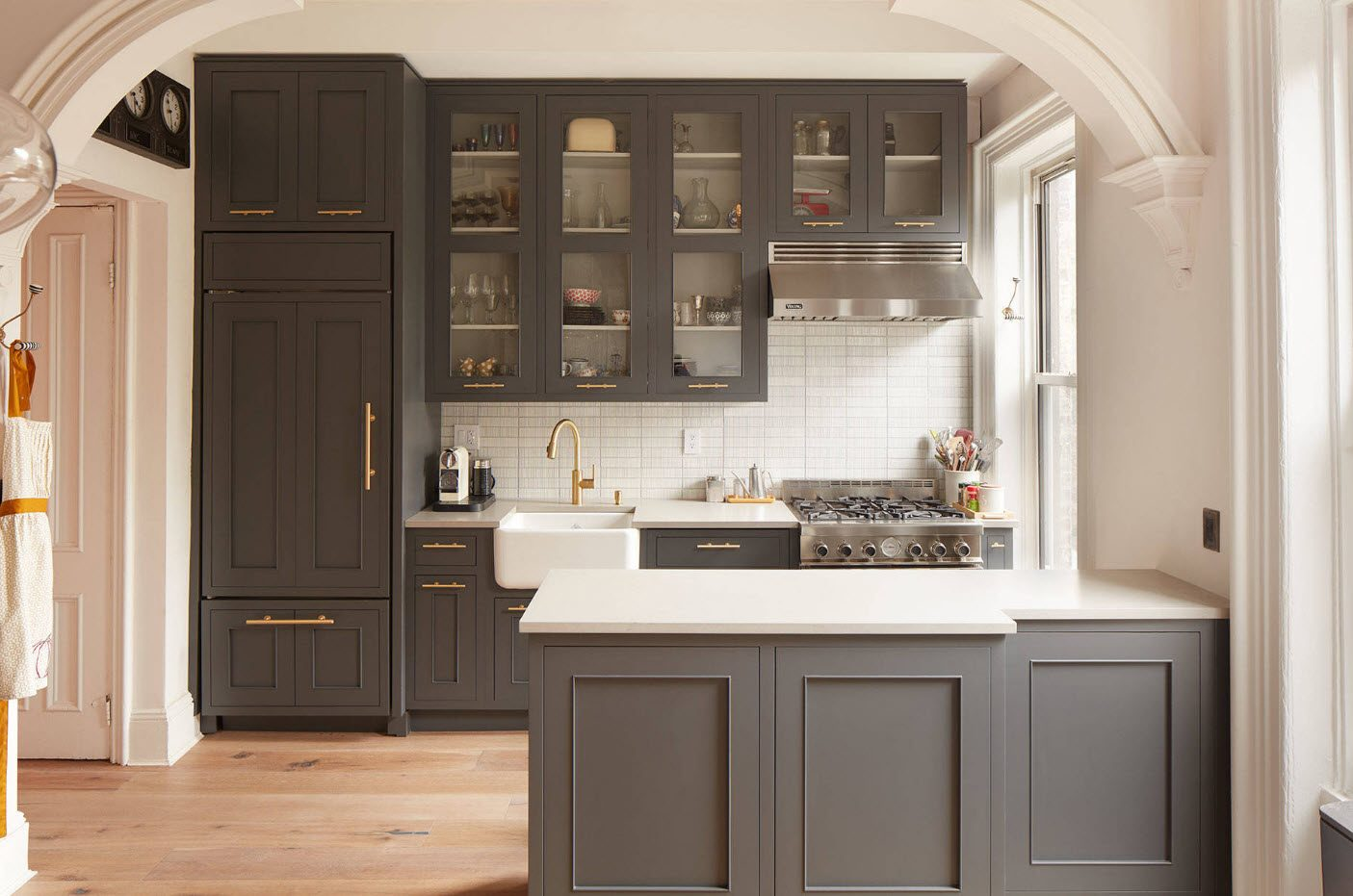 160 Square Feet Kitchen Design Ideas. Gray classic cabinets with glass inlays