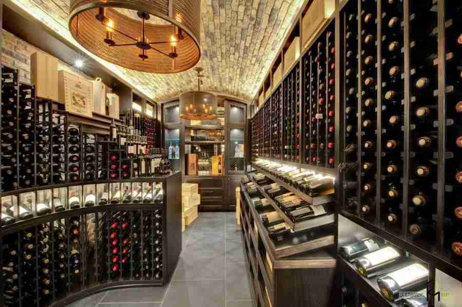 Wine Cellar at Home: Secrets of Modern Trend. Large space for storign wine with the island