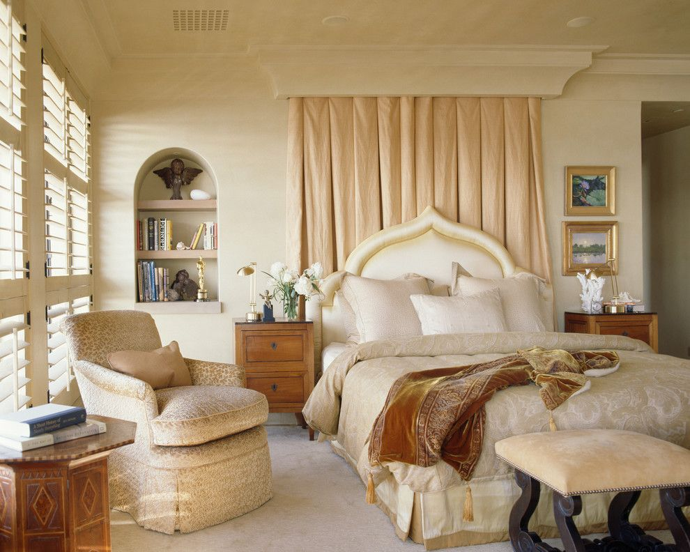 Niche in the Room: Recess in the Wall for Decoration and Functionality. Sandy color theme in the ethnic styled bedroom