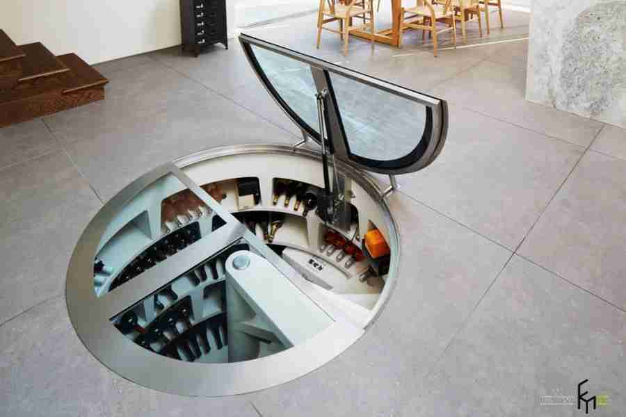 Glass hatch to the wine cellar