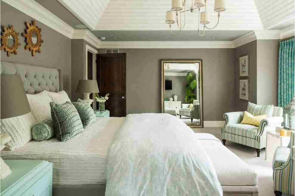 Ivory Interior Decoration Ideas, Photos, Advice. Dark gray wall in the noble looking large bedroom