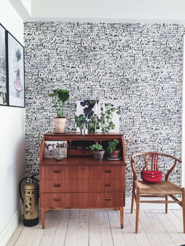 Black and White Wallpaper: Ageless Classics in any Interior. Shallow black texture of the accent wall