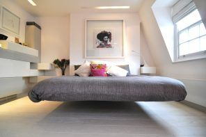 150 Square Feet Bedroom Interior Decoration and Photos. Levitating platform bed in modern styled white room
