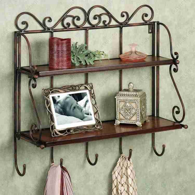 Bathroom Shelves: Fashionable Trends of Practical Interior Decoration. Forged pendant shelve with hooks for classic interior
