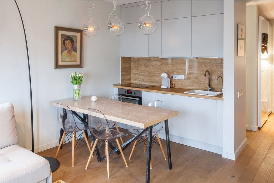 Best Ideas on Tables and Chairs for Small Kitchen. Scandinavian style with large table and wooden trimmed splashback