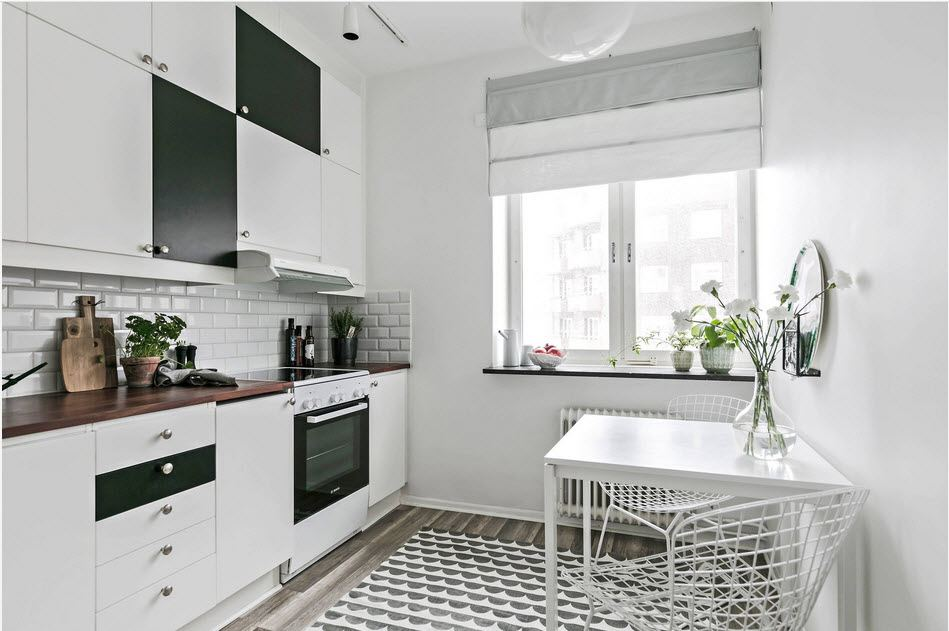 Best Ideas on Tables and Chairs for Small Kitchen. Black and white furniture design for almost totally white space