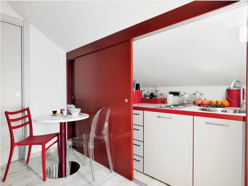 Best Ideas on Tables and Chairs for Small Kitchen. Red accent in white modern design