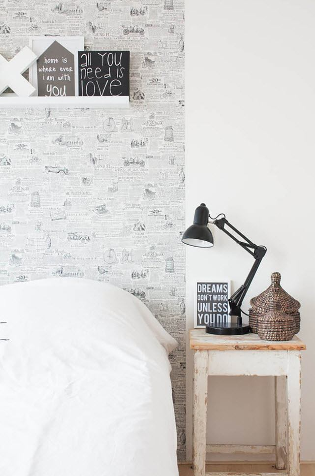 Black and White Wallpaper: Ageless Classics in any Interior. Scandinavian styled bedroom in contrast