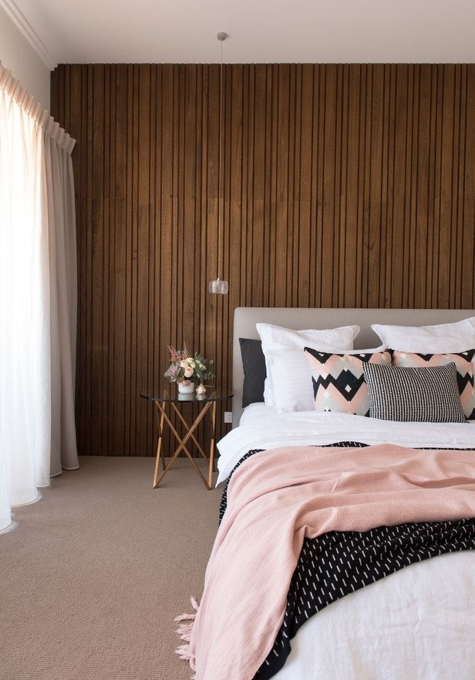 Dark wooden accent wall decoration for modern bedroom