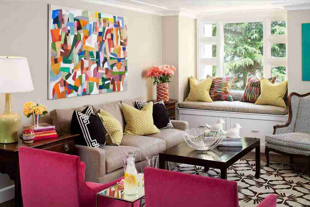 Ivory Interior Decoration Ideas, Photos, Advice. Impressionism styled colorful picture to decorate the living