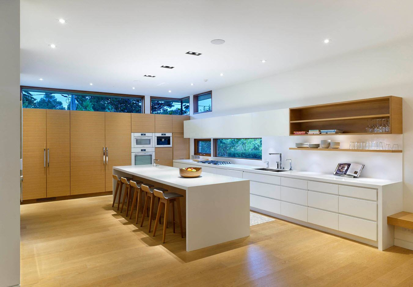 160 Square Feet Kitchen Design Ideas. Complex lighting in the large kitchen with white ceiling and light wooden floor