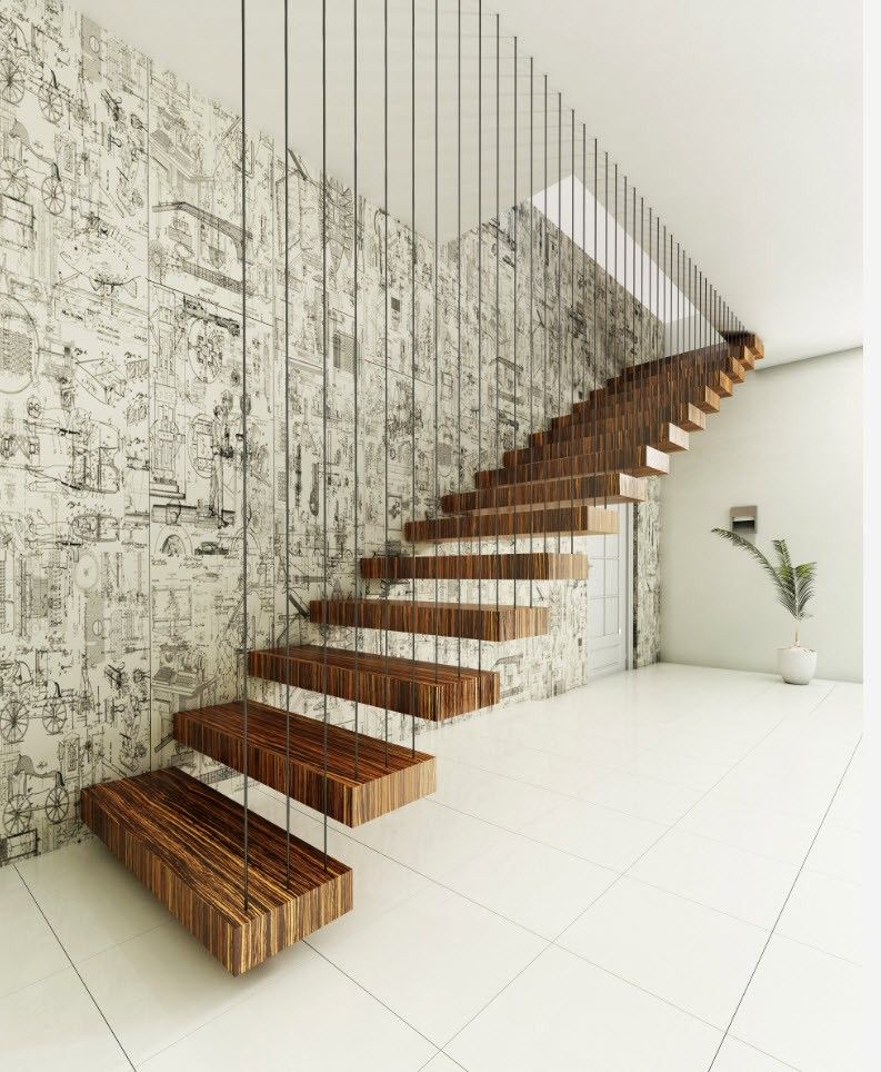 Black and White Wallpaper: Ageless Classics in any Interior. Suspended airy stairs with wooden steps