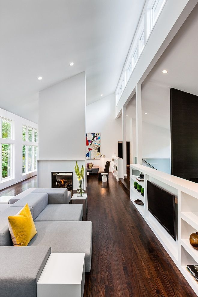 Niche in the Room: Recess in the Wall for Decoration and Functionality. Narrow living room in minimalistic Scandinavian style