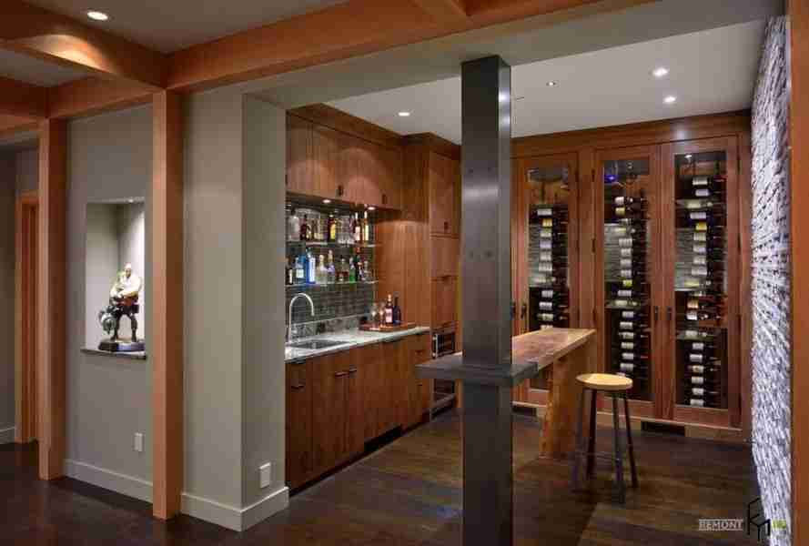 Steel construction for modern styled wine cellar with the island