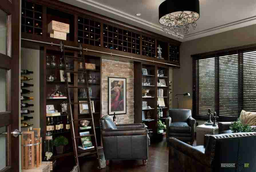 Dark wood trimmed business atmosphere of the negotiation room with wine shelving