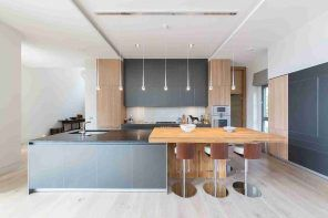 Solid Wood Kitchen Stylish Ideas for Modern Interiors. Modern interior design with noble light wooden inlays