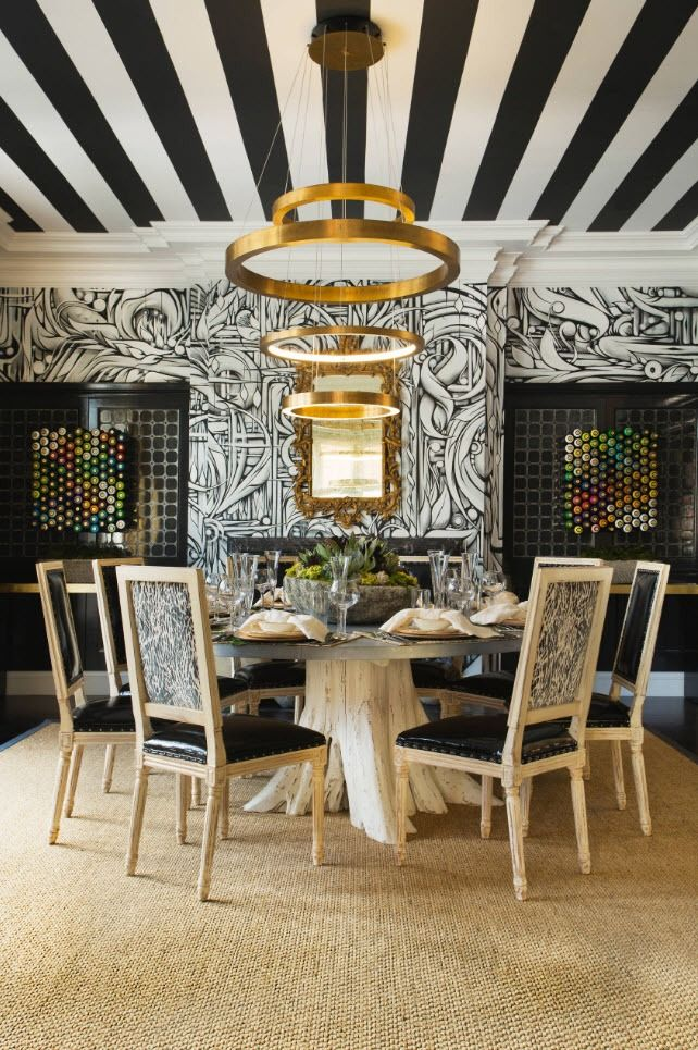 Black and White Wallpaper: Ageless Classics in any Interior. Mid-century styled dining room with striped ceiling and gilded chandelier