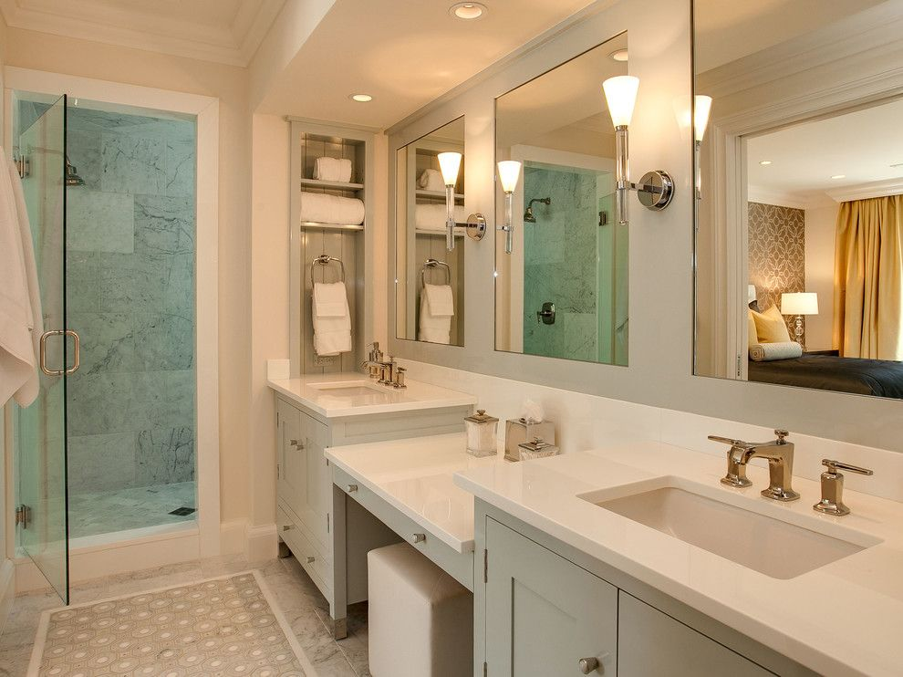 Niche in the Room: Recess in the Wall for Decoration and Functionality. Classic designed bathroom in gray color scheme and with large mirror