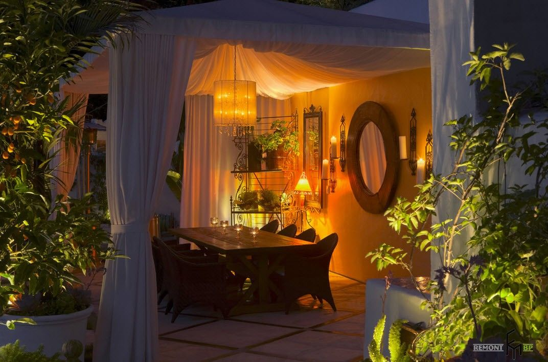 Backyard and Garden Gazebo: Design, Form, Use and Practical Advice. Tulle on the large marquee