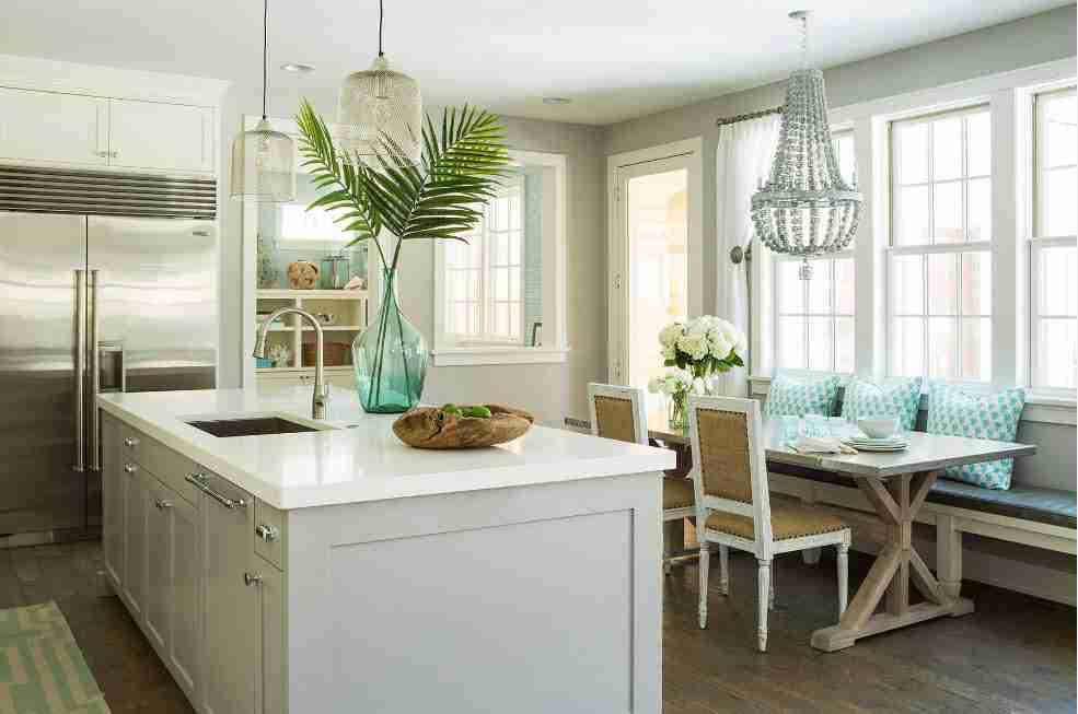 Ivory Interior Decoration Ideas, Photos, Advice. Light decorated kitchen with big zoning island