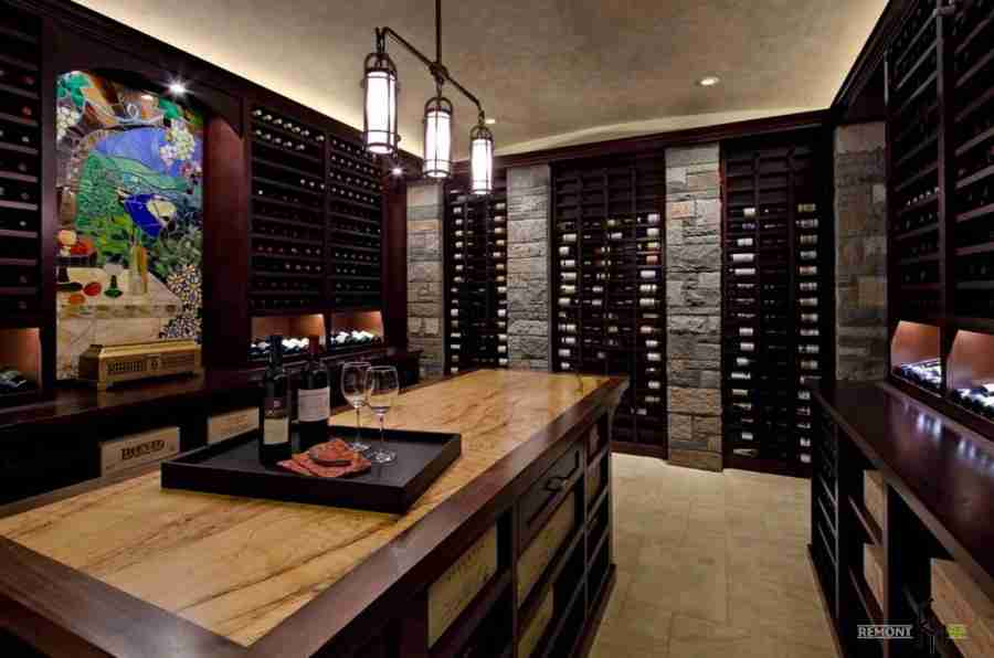 Gorgeous Classic wine cellar design with noble wooden shelves for bottles