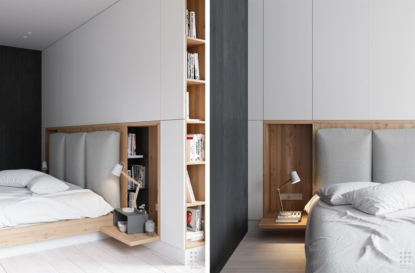 False wall with storage for books and modern bedroom zone