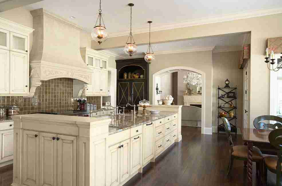 Charming ivory colored classic kitchen furniture set in American classic style
