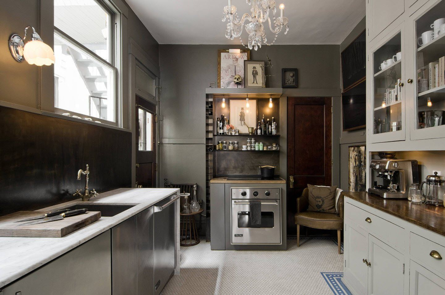 120 Square Feet Kitchen Interior Design Ideas with Photos. Noble silver surafces in the Classic atmosphere with crystal chandelier
