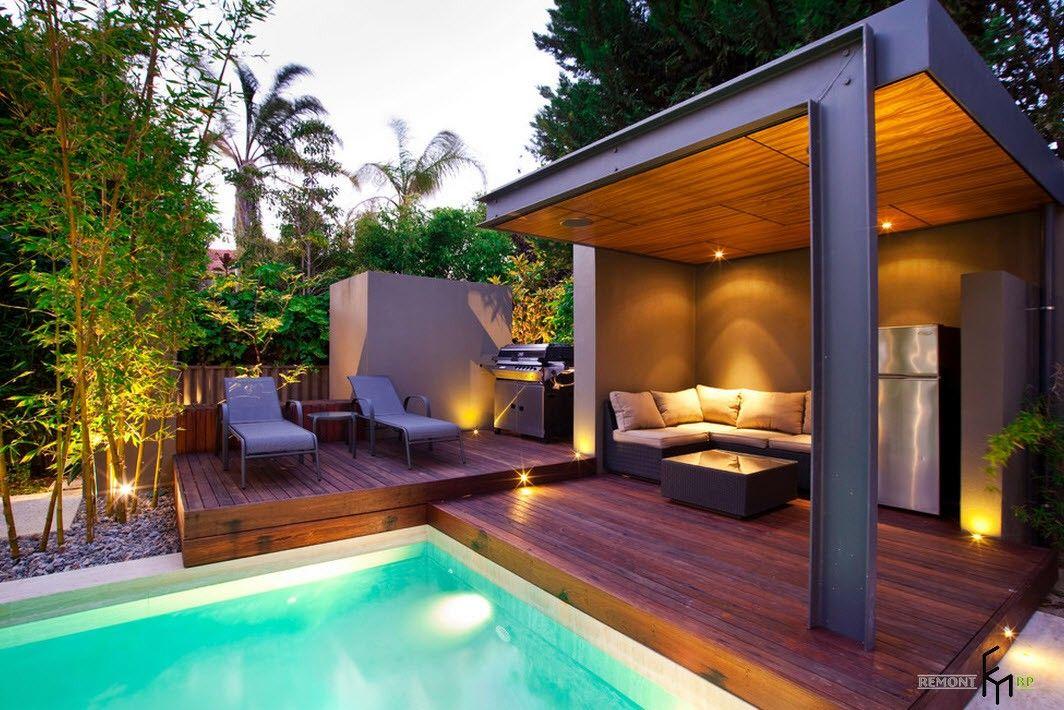 Poolside gazebo with nice looking modern gazebo