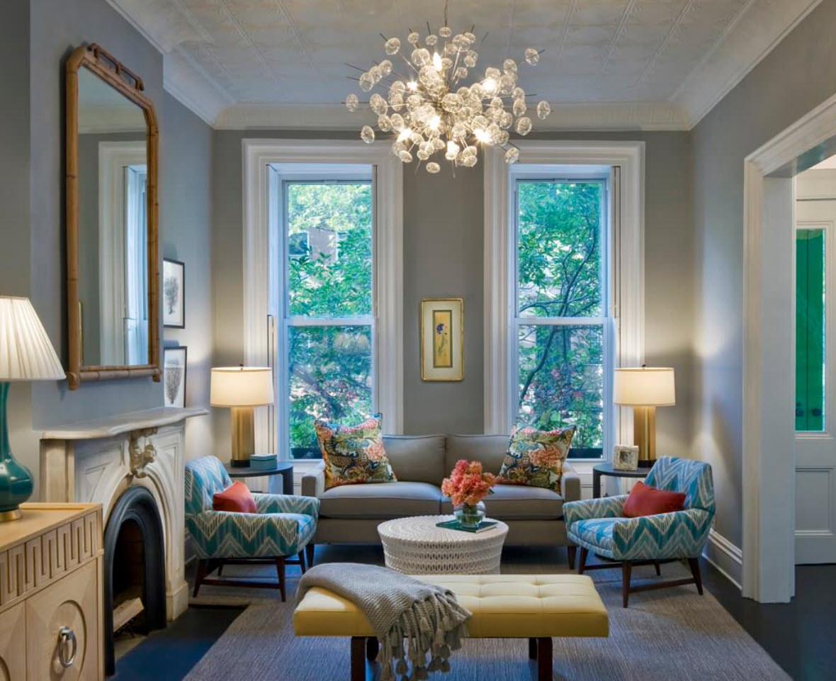 150 Square Feet Living Room Best Arrangement Ideas. Gray Classic decoration