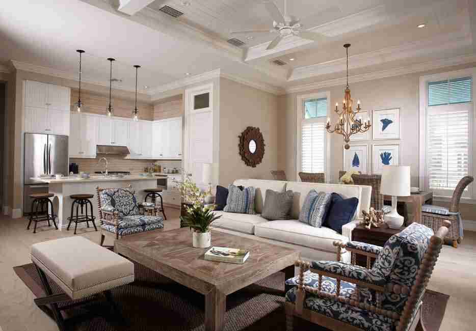 Ivory Interior Decoration Ideas, Photos, Advice. Light decoration and complex lighting of the open layout living with different zones