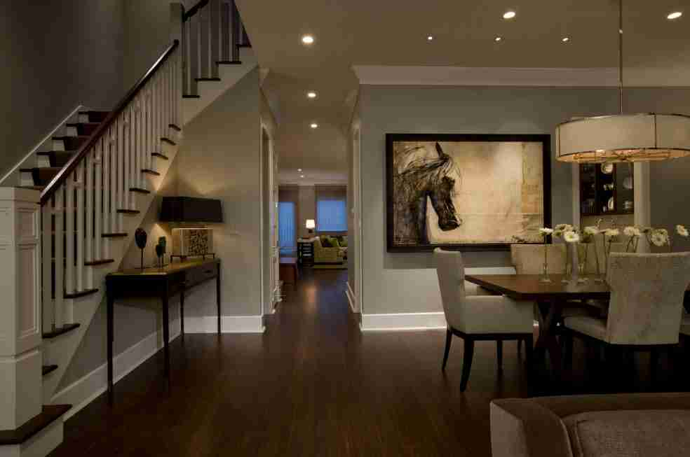Ivory Interior Decoration Ideas, Photos, Advice. First floor of the private house with gray finished walls and built-in lighting